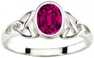 Ladies Pink Tourmaline Silver Celtic Trinity Knot Ring - October Birthstone
