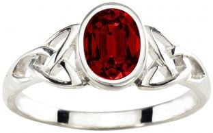 Ladies Ruby Silver Celtic Trinity Knot Ring - July Birthstone