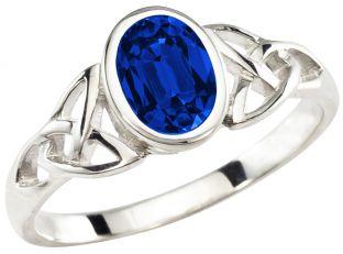 Ladies Sapphire Silver Celtic Trinity knot Ring - September Birthstone