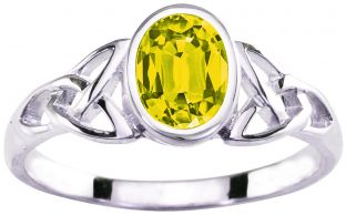 Ladies Yellow Sapphire Silver Celtic Trinity knot Ring - September Birthstone