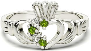 White Gold Peridot Natural Diamond Claddagh Ring - August Birthstone