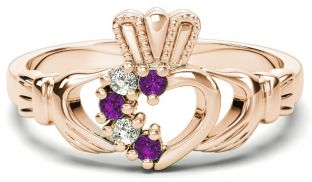 Rose Gold Natural Amethyst Diamond Claddagh Ring - February Birthstone