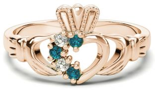 Rose Gold Natural Aquamarine Diamond Claddagh Ring - March Birthstone