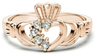 Rose Gold Natural Diamond .075 cts Claddagh Ring - April Birthstone