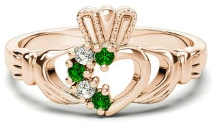 Rose Gold Natural Emerald Diamond Claddagh Ring - July Birthstone