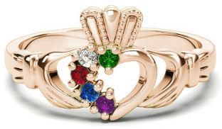 Rose Gold Mother's Birthstone Claddagh Ring