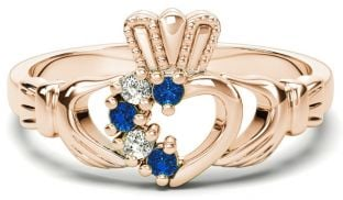 Rose Gold Natural Sapphire Diamond Claddagh Ring - September Birthstone