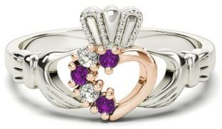 Silver & Solid Rose Gold Amethyst Diamond Claddagh Ring - February Birthstone