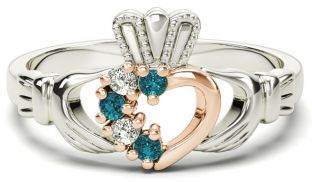 Silver & Solid Rose Gold Aquamarine Diamond Claddagh Ring - March Birthstone
