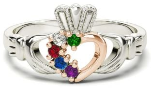 White & Rose Gold Mother's Birthstone Claddagh Ring