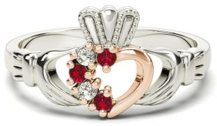 Silver & Solid Rose Gold Ruby Diamond Claddagh Ring - July Birthstone
