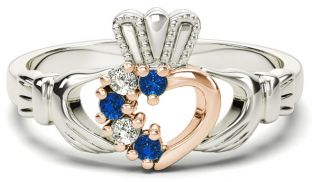 Silver & Solid Rose Gold Sapphire Diamond Claddagh Ring - September Birthstone