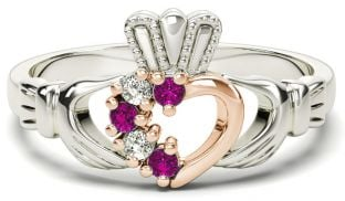 Silver & Solid Rose Gold Pink Sapphire Diamond Claddagh Ring - October Birthstone