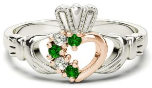 Silver & Solid Rose Gold Emerald Diamond Claddagh Ring - May Birthstone