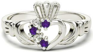 Ladies Alexandrite Diamond Silver Claddagh Ring - June Birthstone