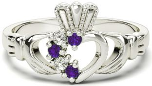 White Gold Natural Alexandrite Diamond Claddagh Ring - June Birthstone