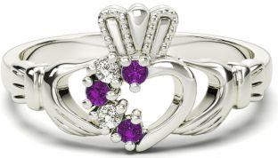 Ladies Amethyst Diamond Silver Claddagh Ring - February Birthstone