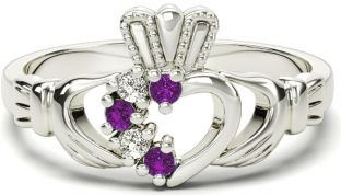 White Gold Amethyst Natural Diamond Claddagh Ring - February Birthstone