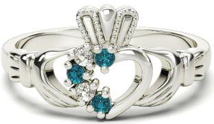 Ladies Aquamarine Diamond Silver Claddagh Ring - March Birthstone