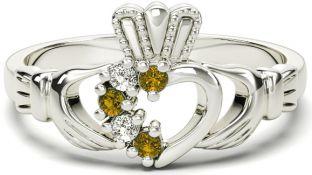 White Gold Citrine Natural Diamond Claddagh Ring - November Birthstone