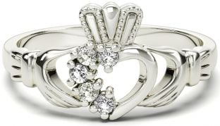 White Gold Natural Diamond .075 cts Claddagh Ring - April Birthstone