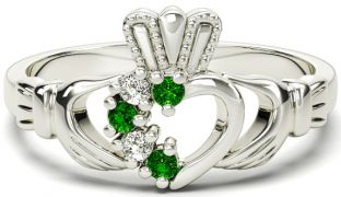 White Gold Natural Emerald Diamond Claddagh Ring - May Birthstone