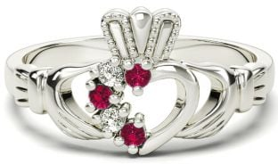 Ladies Garnet Diamond Silver Claddagh Ring - March Birthstone
