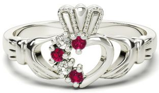 White Gold Red Garnet Natural Diamond Claddagh Ring - January Birthstone