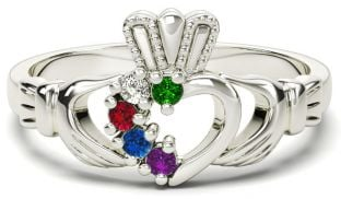 White Gold Mother's Birthstone Claddagh Ring