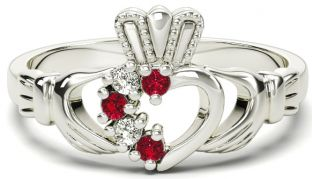 White Gold Natural Ruby Diamond Claddagh Ring - July Birthstone