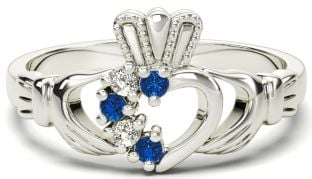 White Gold Natural Sapphire Diamond Claddagh Ring - September Birthstone