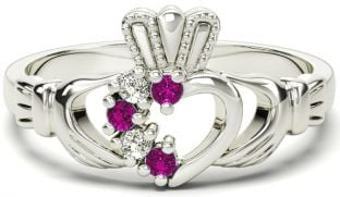 Ladies Pink Tourmaline Diamond Silver Claddagh Ring - October Birthstone