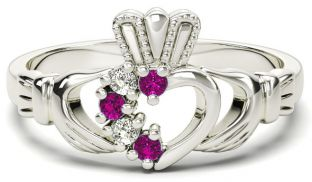 White Gold Natural Pink Sapphire Diamond Claddagh Ring - October Birthstone