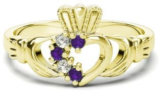 Gold Natural Alexandrite Diamond Claddagh Ring - June Birthstone