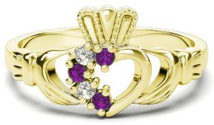 Gold Natural Amethyst Diamond Claddagh Ring - February Birthstone