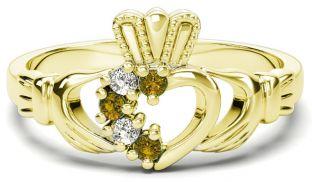 Gold Natural Citrine Diamond Claddagh Ring - November Birthstone
