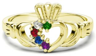 Gold Mother's Birthstone Claddagh Ring