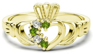 Gold Natural Peridot Diamond Claddagh Ring - August Birthstone