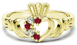 Gold Natural Ruby Diamond Claddagh Ring - July Birthstone