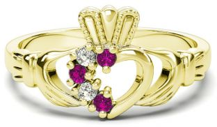 Gold Natural Pink Sapphire Diamond Claddagh Ring - October Birthstone