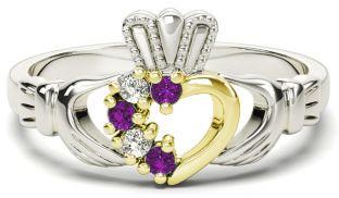 Silver & Solid Yellow Gold Amethyst Diamond Claddagh Ring - February Birthstone
