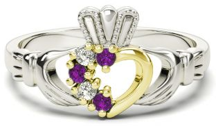 White and Yellow Gold Natural Amethyst Diamond Claddagh Ring - February Birthstone