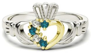 White and Yellow Gold Natural Aquamarine Diamond Claddagh Ring - March Birthstone
