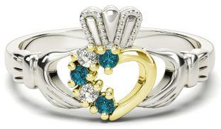 Silver & Solid Yellow Gold Aquamarine Diamond Claddagh Ring - March Birthstone