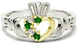 Ladies Emerald Diamond Two Tone Gold Silver Claddagh Ring - May Birthstone