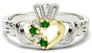 Silver & Solid Yellow Gold Emerald Diamond Claddagh Ring - May Birthstone