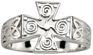 Silver Celtic Cross Trinity Knot Spiral Ring Unisex ladies Mens