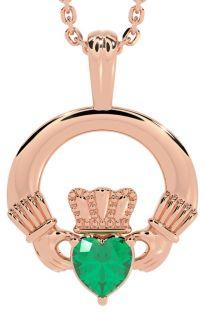 "Rose Gold Emerald .18cts Irish ""Claddagh"" Pendant Necklace - May Birthstone"