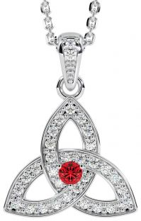 """White Gold Genuine Diamond .15cts Genuine Ruby .10cts """"Celtic Knot"""" Pendant Necklace"""