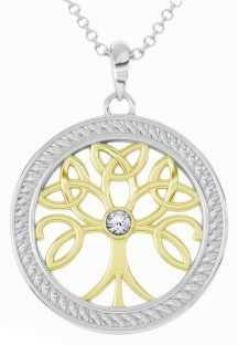 """Tree of Life"" White & Yellow Gold Diamond .1cts Celtic Pendant Necklace"